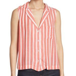 Abound Sleeveless Tie Front Camp Shirt NWT